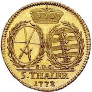 5 Thaler - Friedrich August III. – revers