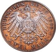 2 Mark (500ème anniversaire de l'Université de Leipzig) – revers