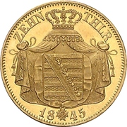 10 Thaler - Friedrich August II – revers