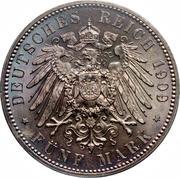 5 Mark (500ème anniversaire de l'Université de Leipzig) – revers