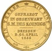 1 thaler Johann (Visite de la monnaie de Drèsde - Frappe essai en or) – revers