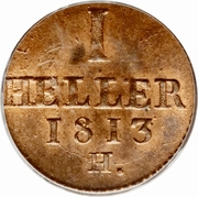 1 Heller - Friedrich August I – revers