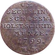 2 Sechsling (Christian VII de Danemark) – revers