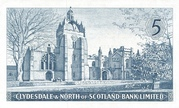 5 Pounds (Clydesdale & North of Scotland Bank) – revers