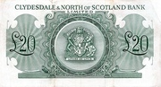 20 Pounds (Clydesdale & North of Scotland Bank) – revers