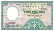 5 Pounds (National Commercial Bank of Scotland) – avers