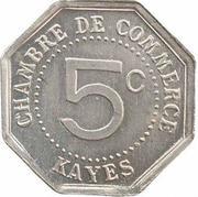 5 centimes Chambre de commerce Kayes – revers