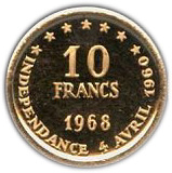 10 francs (8ème anniversaire de l'indépendance) – revers