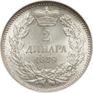 2 dinars - Milan I – revers