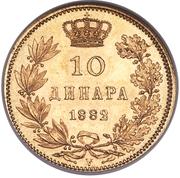 10 dinars - Milan I – revers