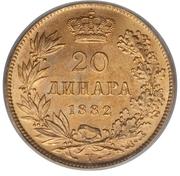 20 dinars - Milan I – revers