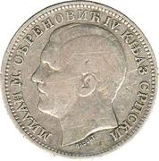 1 dinar - Milan I -  avers