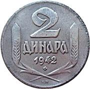 2  dinars (occupation allemande) – revers