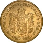 5 dinars (1er armoiries - République) – avers