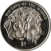 1 dollar Couple de lion (non colorée) – revers