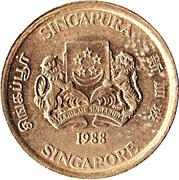5 cents (blason haut) – avers