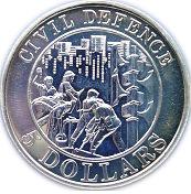 5 Dollars (Civil Defence) 1991 -  revers