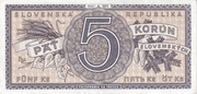 5 korún – revers