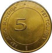 5 tolarjev (FAO) – avers