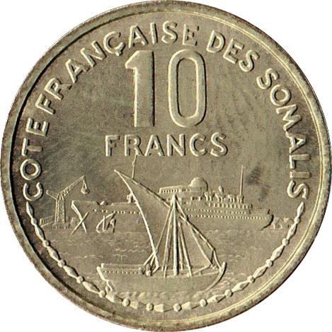 10 francs c te fran aise des somalis numista. Black Bedroom Furniture Sets. Home Design Ideas