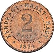 2 pence (Zuid Afrikaansche Republiek, Essai du Transvaal) – revers