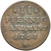2 pfennig Franz Christoph von Hutten – revers