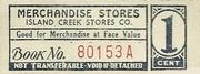 Island Creek Stores Company 1 Cent – avers