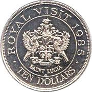 10 dollars (Visite royale) – avers