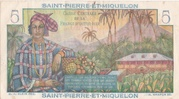 5 francs Bougainville (type 1946) – revers