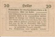20 Heller (Stein an der Donau) -  revers