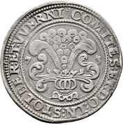 ½ thaler Ludwig II., Heinrich XXI, Albrecht Georg, Christof I. and Wolfgang Ernst – revers