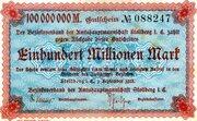 100,000,000 Mark (Amtshauptmannschaft Stollberg) -  avers