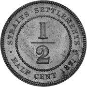 ½ Cent - Victoria (essai) – revers