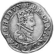 3 kreuzer Ferdinand II Archiduc (Graz) – avers
