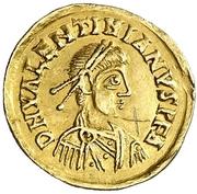 Tremissis au nom de Valentinien III – avers