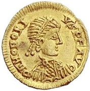 1 Tremissis - In the name of Honorius, 393-423 – avers