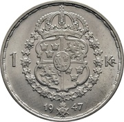 1 krona Gustaf V -  revers