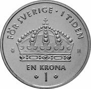 1 krona Carl XVI Gustaf -  revers