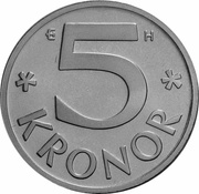 5 kronor Carl Gustaf XVI -  revers