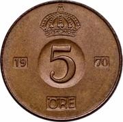 5 öre Gustaf VI Adolf -  revers
