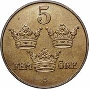 5 öre - Gustaf V (bronze) -  revers