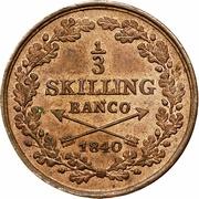 ⅓ skilling banco - Carl XIV Johan -  revers