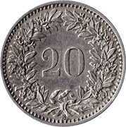 20 centimes Tête de Libertas nickel -  revers