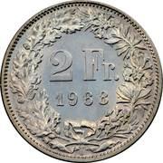 2 francs Helvetia debout (cupronickel) -  revers