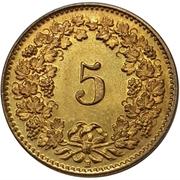 5 centimes Tête de Libertas (laiton) – revers
