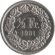 ½ franc Helvetia debout (cupronickel) -  revers