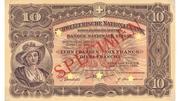10 francs (2ème série, billet de réserve) – avers