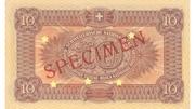 10 francs (2ème série, billet de réserve) – revers