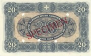 20 Francs (3ème série, billet de réserve) – revers
