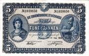 5 francs - Caisse fédérale (texte en allemand) – avers